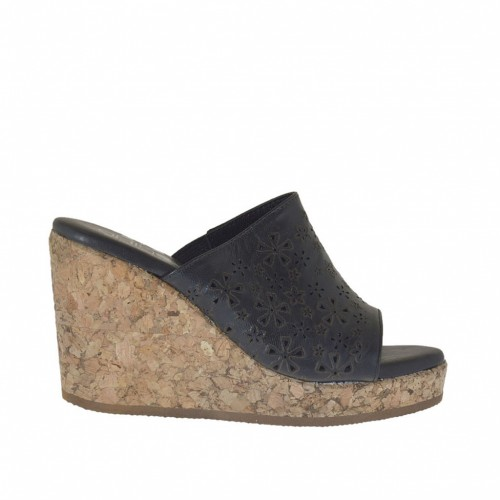 Woman's open mules with elastic band in black pierced leather with cork platform and wedge 8 - Available sizes:  42