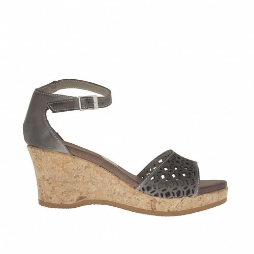 Woman's open strapshoe with cork wedge and platform in taupe pierced leather wedge 6 - Available sizes:  42