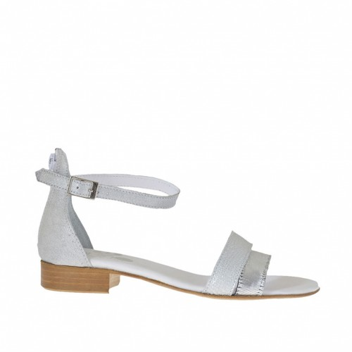 Woman's open strapshoe with 2 bands in silver printed leather and laminated cutted leather heel 2 - Available sizes:  45