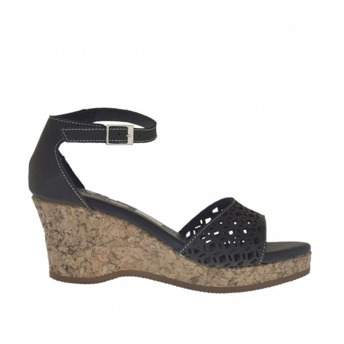 Woman's open strapshoe with cork wedge and platform in black pierced leather wedge 6 - Available sizes:  45