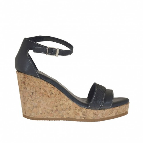 Woman's open strapshoe with cork wedge and platform in black printed leather wedge 8 - Available sizes:  43, 44