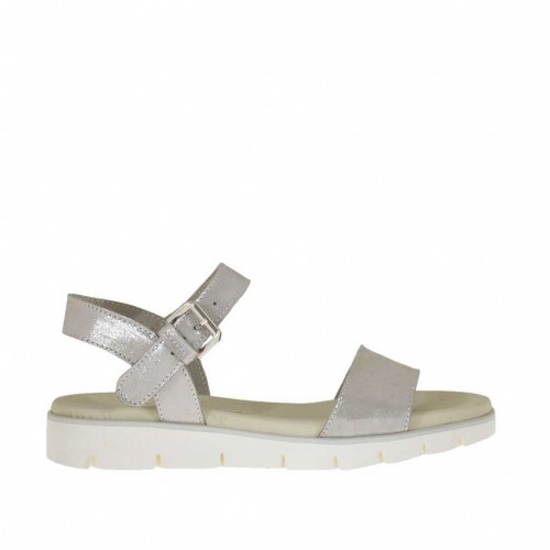 Woman's strap sandal in silver laminated taupe coated suede wedge heel 3 - Available sizes:  32