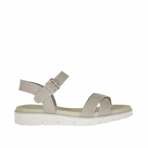 Woman's strap sandal in taupe patent leather wedge heel 3 - Available sizes: