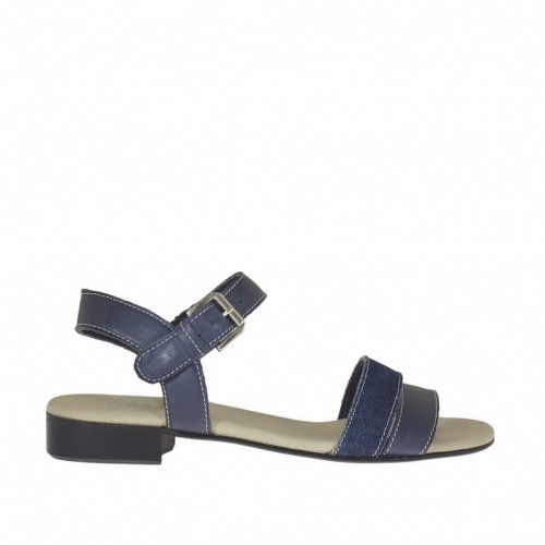 Woman's strap sandal in blue leather and denim blue fabric heel 2 - Available sizes:  32, 45