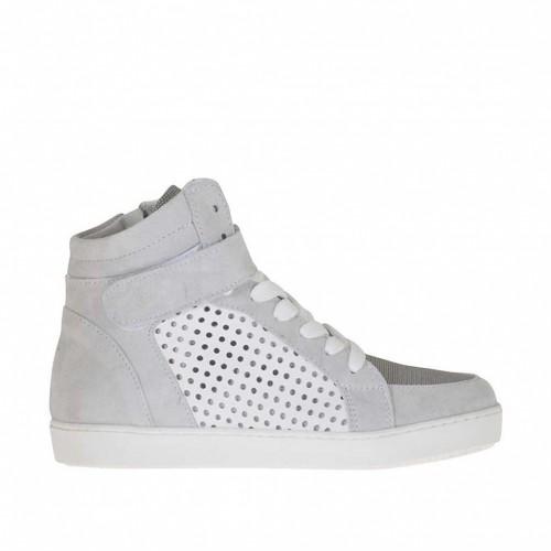 Chaussure à lacets avec fermeture éclair et velcro en daim et tissu gris et cuir blanc perforé talon compensé 2 - Pointures disponibles:  32, 45