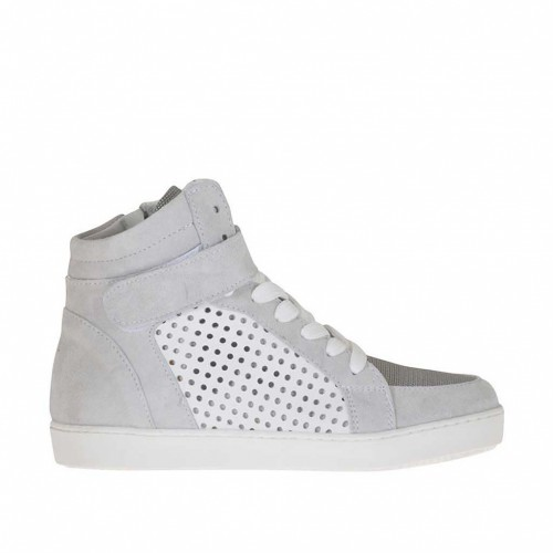 Woman's laced shoe with velcro and zipper in grey suede and fabric and white pierced leather wedge 2 - Available sizes:  32