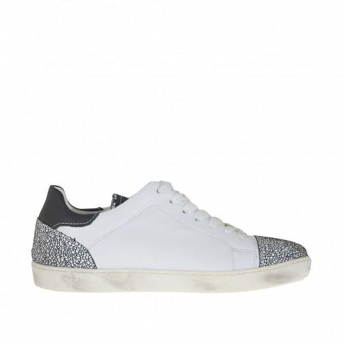 Chaussure sportif pour femmes à lacets en cuir et cuir imprimé blanc et noir talon compensé 2 - Pointures disponibles:  32