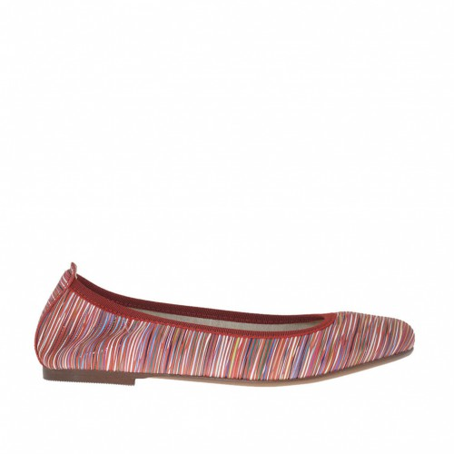 Woman's ballerina shoe in red multicolored printed leather heel 1 - Available sizes:  32