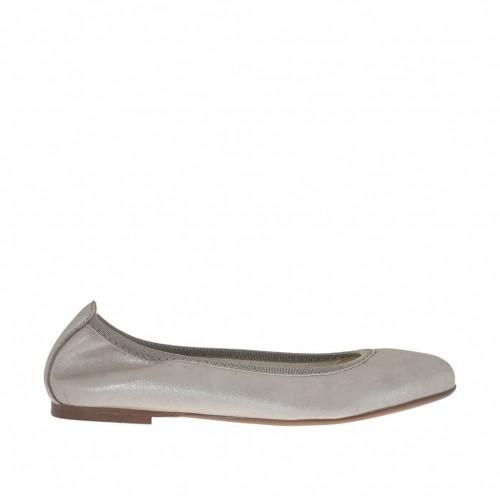 Ballerine pour femmes en cuir lamé argent talon 1 - Pointures disponibles:  33