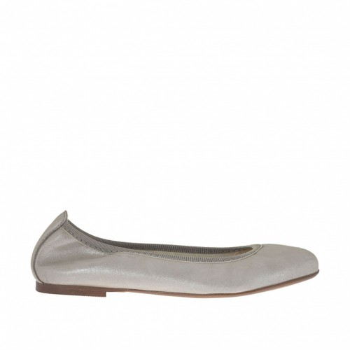 Woman's ballerina shoe in silver laminated leather heel 1 - Available sizes:  33