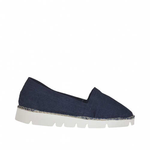 Woman's espadrilles shoe in denim blue jeans fabric wedge 2 - Available sizes:  43, 45
