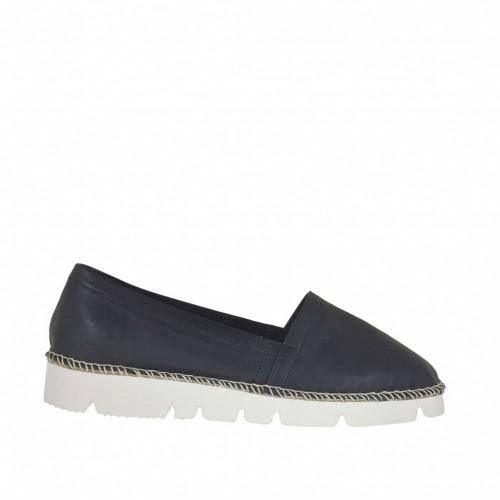 Chaussure espadrillespour femme en cuir noir talon compensé 2 - Pointures disponibles:  45