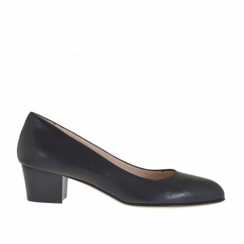 Escarpin pour femmes en cuir noir talon 4 - Pointures disponibles:  33