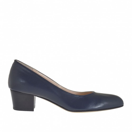 Woman's pump shoe in blue leather heel 4 - Available sizes:  32, 34, 43, 44, 45