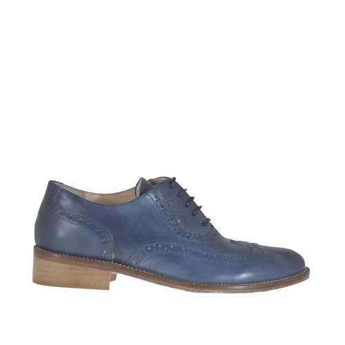 Woman's laced Oxford shoe in blue leather heel 2 - Available sizes:  32, 44