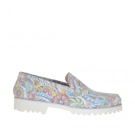 Woman's mocassin in printed leather with a mosaic floral pattern heel 2 - Available sizes:  32, 33, 43