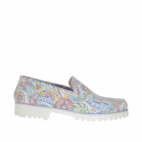 Woman's mocassin in printed leather with a mosaic floral pattern heel 2 - Available sizes:  32, 43