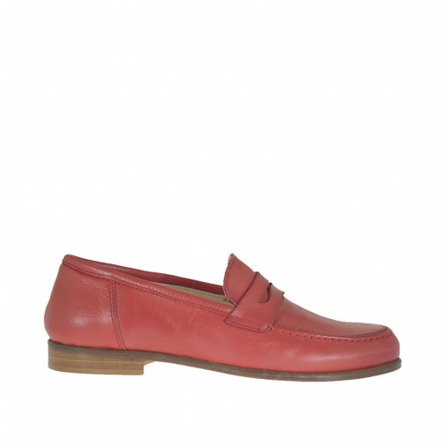 Woman's mocassin in coral red leather heel 1,5 - Available sizes:  45