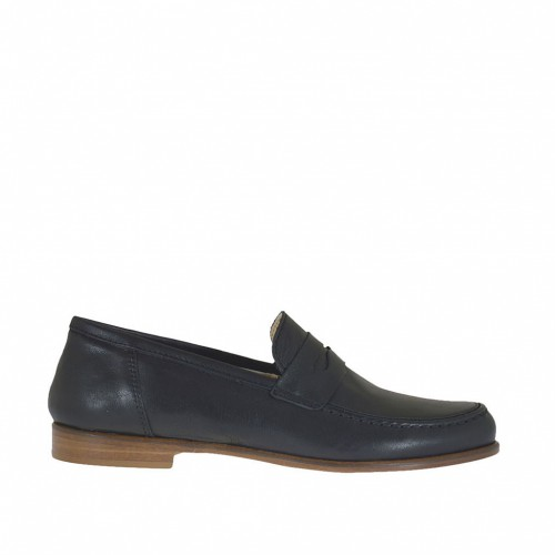 Woman's mocassin in black leather heel 1,5 - Available sizes:  32, 33