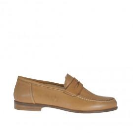 Zapato mocasino para mujer en piel color cuero tacon 1,5 - Tallas disponibles:  32, 33, 44, 45