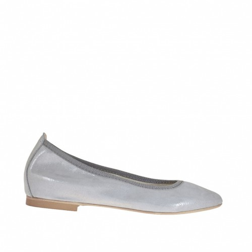Woman's ballerina shoes with pointed toe in laminated silver coated suede heel 1 - Available sizes:  32, 33