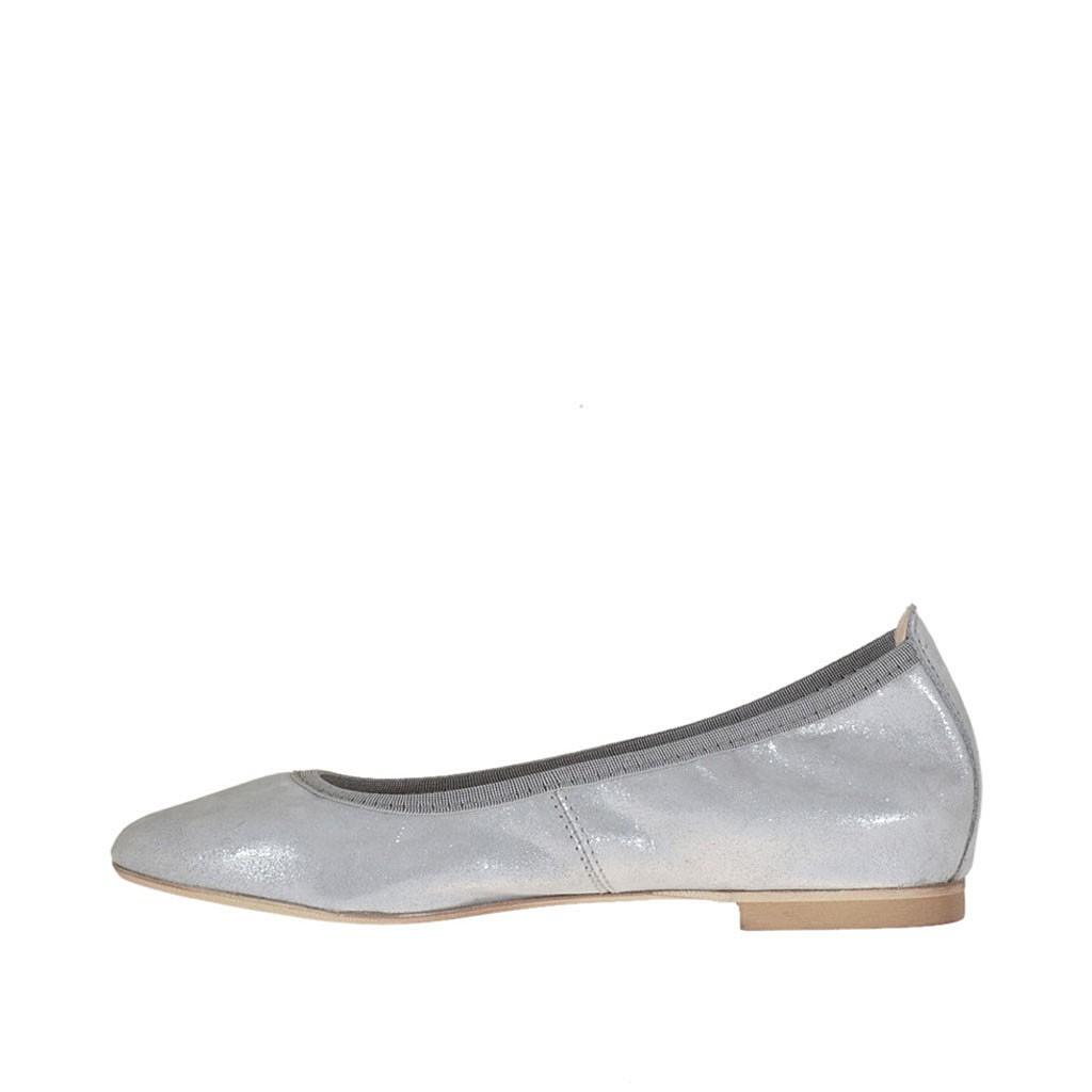chaussure ballerine avec bout pointu pour femmes en daim couvert lam argent talon 1. Black Bedroom Furniture Sets. Home Design Ideas
