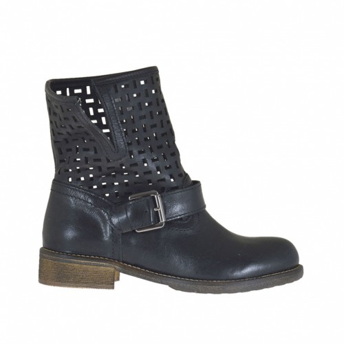 Woman's ankle boot with buckle in black leather and pierced leather heel 3 - Available sizes:  32
