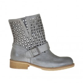 Woman's ankle boot with buckle in taupe leather and pierced leather heel 3 - Available sizes: 32, 33, 34, 42