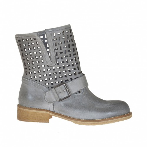 Woman's ankle boot with buckle in taupe leather and pierced leather heel 3 - Available sizes:  32