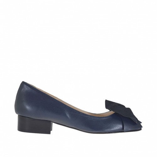 Woman's toe pump with bow in blue leather and suede heel 3 - Available sizes:  34, 43, 45