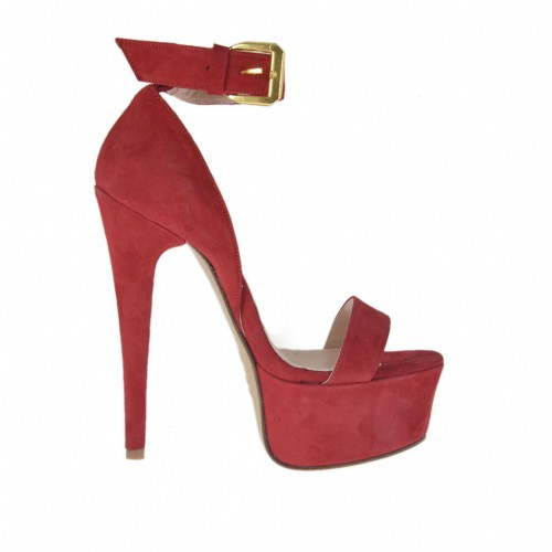 Woman's open shoe with strap and platform in red suede heel 13 - Available sizes:  34, 44, 45, 46