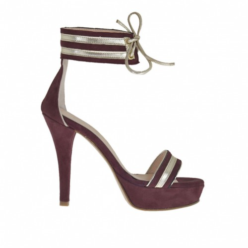 Woman's open shoe with ankle strap and platform in plum suede and platinum laminated leather heel 10 - Available sizes:  43, 46