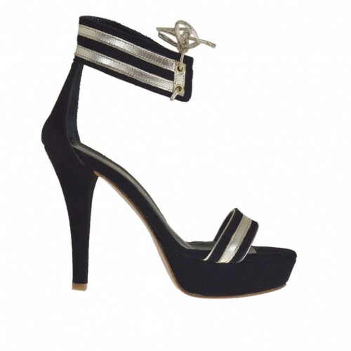 Woman's open shoe with ankle strap and platform in black suede and platinum laminated leather heel 10 - Available sizes:  42, 43, 44, 45
