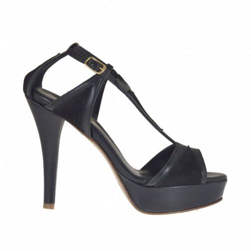 Ouvert chaussures pour femmes avec courroie et plateforme en daim et cuir noir talon 10 - Pointures disponibles:  31, 34, 42, 43, 44, 46, 47