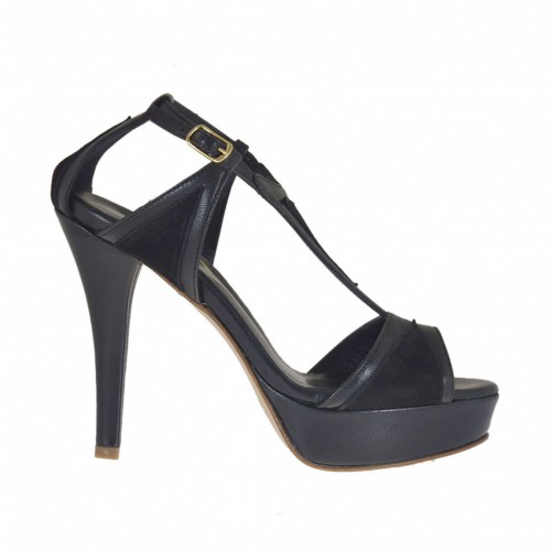 Woman's open shoe with strap and platform in black suede and leather heel 10 - Available sizes:  42, 46