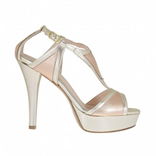 Ouvert chaussures pour femmes avec courroie et plateforme en cuir lamè platine et cuivre talon 10 - Pointures disponibles:  42, 43, 44, 45, 46, 47