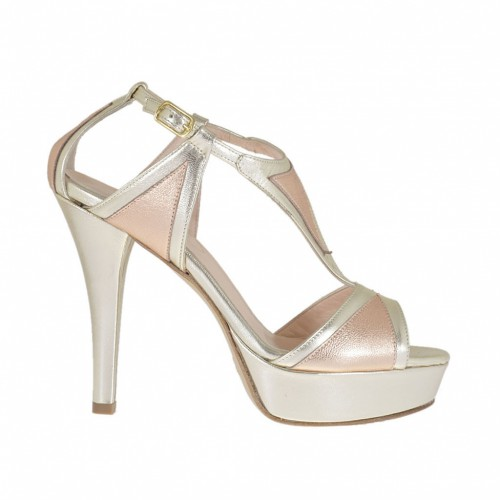 Woman's open shoe with strap and platform in laminated platinum and copper leather heel 10 - Available sizes:  42, 46