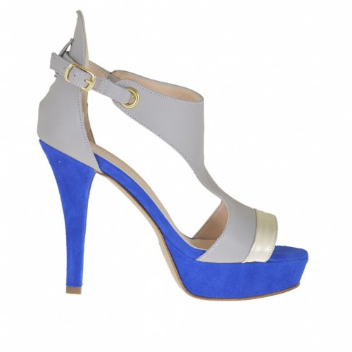Woman's open shoe with strap and platform in blue suede and grey and laminated platinum leather heel 10 - Available sizes:  43, 47