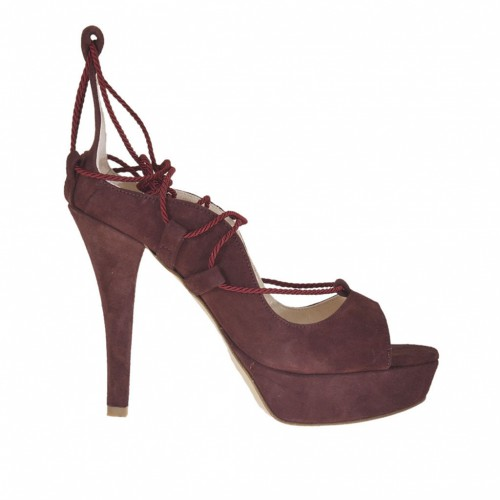 Woman's open shoe with platform and fabric lace in plum suede heel 10 - Available sizes:  31, 32, 33, 34, 42, 43, 44, 47