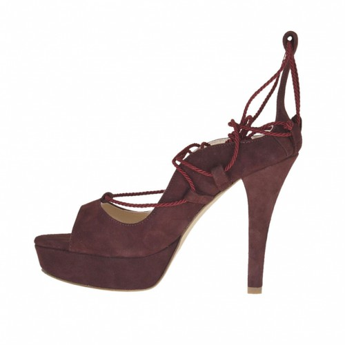 fabric lace in plum suede heel 10