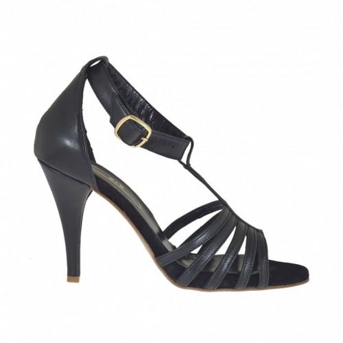 Chaussure ouvert avec courroie et plateforme caché en cuir noir talon 8 - Pointures disponibles:  44