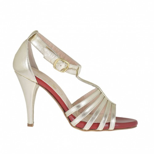 Woman's open strapshoe with anklestrap and inner platform in laminated platinum and red leather heel 8 - Available sizes:  32, 46