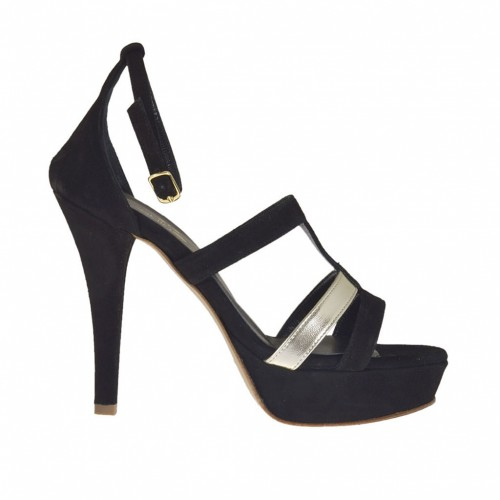 Woman's open strapshoe with platform in black suede and laminated platinum leather heel 10 - Available sizes:  43, 46, 47