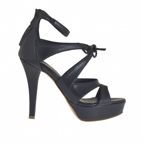Woman's open platform shoes with lace and back zip in black leather heel 10 - Available sizes:  42, 46, 47