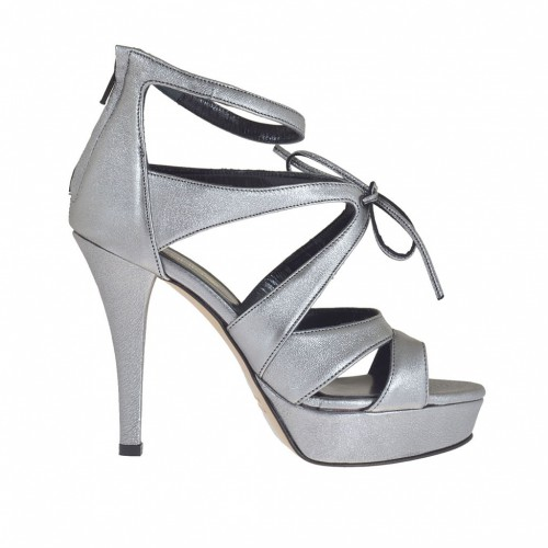 Woman's open pump in gunmetal grey laminated leather with zipper, laces and platform heel 10 - Available sizes:  42, 43, 46