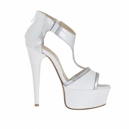 Chaussure ouvert pour femmes avec plateforme, élastique et fermeture éclair en cuir blanc et cuir lamé argent talon 13 - Pointures disponibles:  34, 42