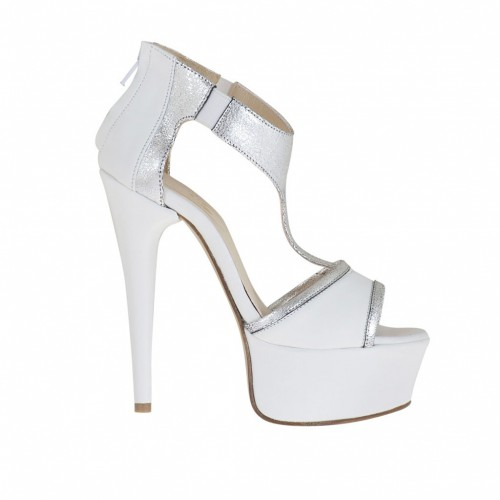 Woman's open platform shoe with elastics and zip in white and laminated silver leather heel 13 - Available sizes:  34, 42, 47