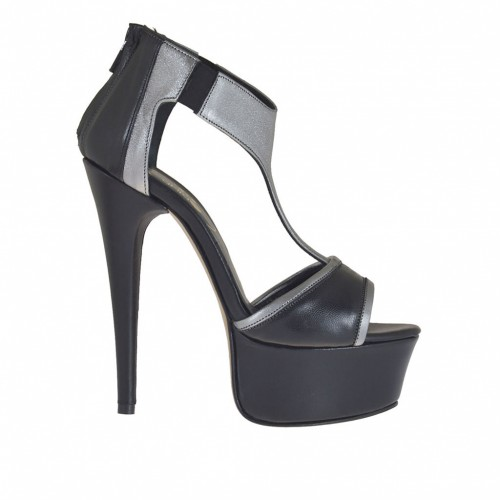 Woman's open platform shoes with elastics and zip in black and gunmetal grey laminated leather heel 13 - Available sizes:  42, 45, 46