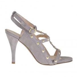 Sandalo da donna con plateau, borchie e cinturino in camoscio grigio glicine tacco 8 - Misure disponibili: 31, 34, 42, 43, 44, 45, 47