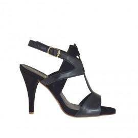 Sandalo da donna con listini incrociati e plateau in pelle e camoscio nero tacco 8 - Misure disponibili: 31, 42, 43, 46, 47